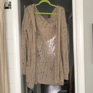 Free people loose knit hooded cardigan size small